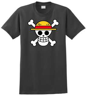 One Piece Anime T Shirt Charcoal Monkey D Luffy Flag