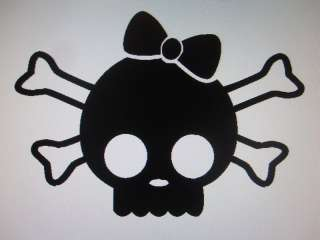 Girl Skull and Crossbones sticker decal in 21 colors