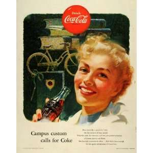 1953 Ad Coca Cola Co Logo Coke Soda Student Woman College Girl Bicycle