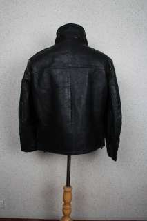 Vtg 50s POLICE Black STEERHIDE Leather Motorcycle Biker Jacket Large