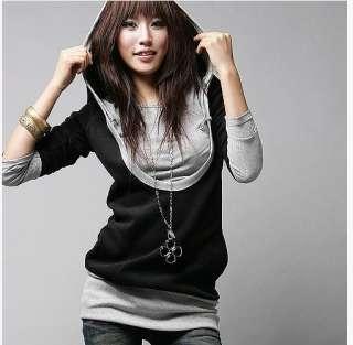 Fashion Korean Women U Collar Long sleeve Casual Tops Shirt Hoodie