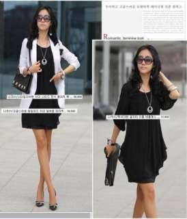 Korean Fashion Women Chiffon Puff Sleeve Long Blouse Dress Black White
