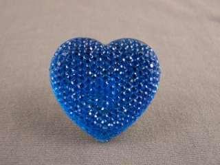 Blue multi faceted crystal Heart big huge cocktail ring adjustable 1