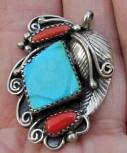 OLD VINTAGE NAVAJO INDIAN STERLING SILVER TURQUOISE CORAL PENDANT