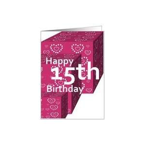 15 Birthday Greeting Card with Heart Covered Gifts Card Toys & Games