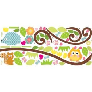 SCROLL TREE BRANCH wall stickers 65 big decals owl leaves flowers
