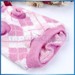 Dog Puppy Pet Knit Turtleneck Sweater Clothing Pink M