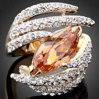 Oval Topaz White Swarovski Crystal Gold GP Finger Ring