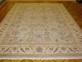 9x12 Light Blue & Ivory Plush Hand knotted Wool Persian Oriental Rug