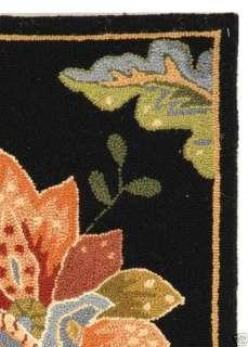 Hand hooked Botanical Black Wool Area Rug 2 x 3