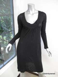 James Perse Black Long Sleeve Scoop Neck Dress 2