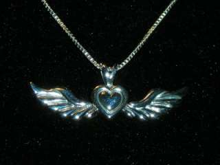 STERLING SILVER WIND BENEATH MY WINGS ANGEL WINGS PENDANT NECKLACE