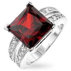 Kate Bissett Silvertone Princess cut Red CZ Ring
