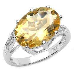 Sterling Silver Oval cut Citrine and White Topaz Ring