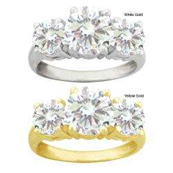 10k Gold Round Synthetic White Zircon 3 stone Ring