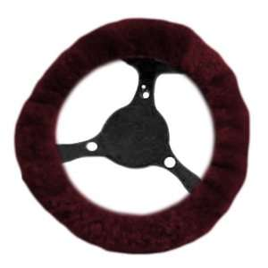 Geniune Sheep Skin Steering Wheel Cover   Burgundy Red