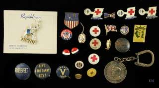 USA POLITICAL red cross WAR PINS ROOSEVELT NIXON
