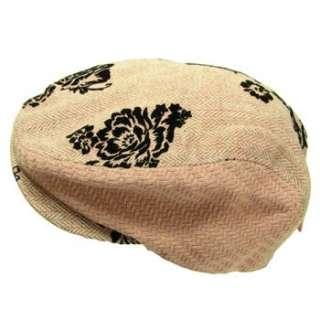 LADIES HERRINGBONE PANELS IVY DRIVER FLAT CAP HAT PINK