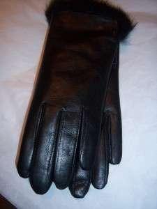 Ladies Leather Gloves w/RABBIT FUR lin & Cuff trim, Blk