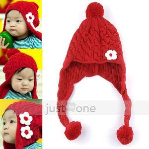 Chic Baby Kids Boy Girl Winter Red Earmuffs Beanie SKI Knit Hat Scarf