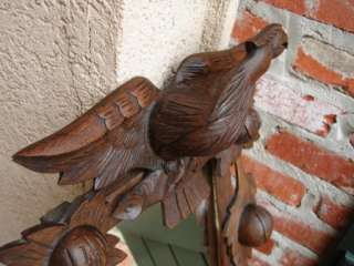 Antique Carved Wood Black Forest Wall Shelf Mirror EAGLE BIRD Sconce