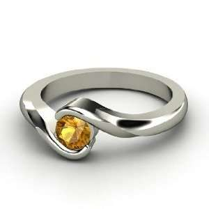 Embrace Ring, Round Citrine 14K White Gold Ring Jewelry