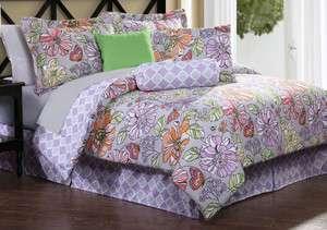 ELIZA Queen 7pc Comforter Set Purple retro flower lilac