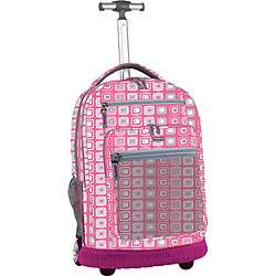 World Pink Monitor Rolling Backpack with Laptop Sleeve
