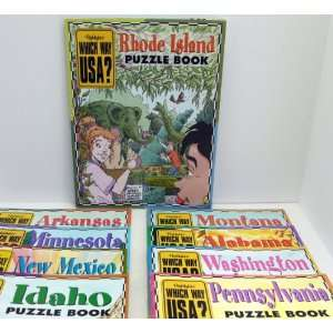 Highlights WHICH WAY USA Set of 9 Puzzle Books. Arkansas, Alabama