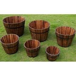 Round Cedar Wood Whiskey Barrel Planters (Set of 6)