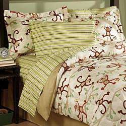 Monkey 5 piece Twin size Bed in a Bag with Sheet Set