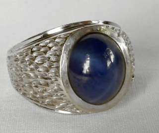 VINTAGE 14K WHITE GOLD MENS 6.00 CT STAR SAPPHIRE+DIAMOND RING~11.3 gr