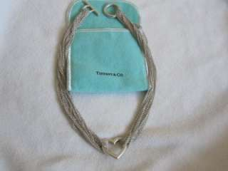 & Co. Sterling Silver Heart Mesh Toggle Necklace With Pouch