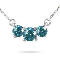 14k White Gold 1/2ct TDW Blue Diamond 3 stone Necklace