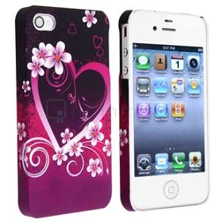 Purple Heart w/ Flower Rubber Coat Hard Case Cover+2x LCD Guard For