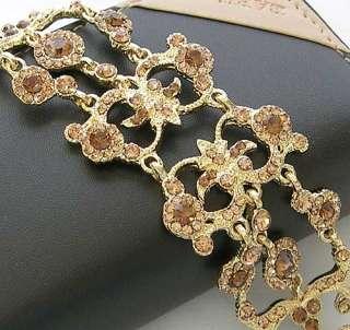 b5 Topaz Brown Gold Swarovski Crystal Victorian style Bracelet
