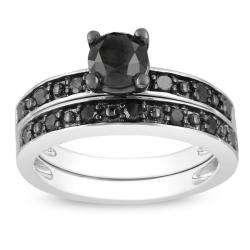 Sterling Silver 1ct TDW Black Diamond Bridal Ring Set