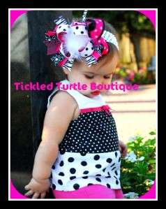 Ostrich Feather Pink Zebra Large Hairbow Baby Girls Bow with Crochet