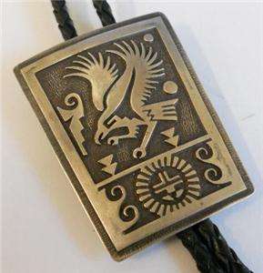 HOPI STERLING SILVER INLAY EAGLE BOLO TIE