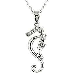 10k White Gold Diamond Sea Horse Necklace