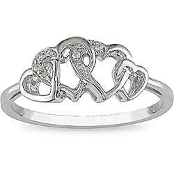 10k White Gold Diamond Entwined Heart Ring
