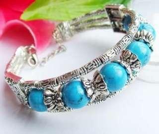 handmade Tibet Tibetan silver turquoise bracelet with free gift