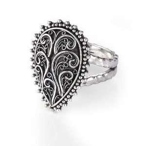 Bonn® Sterling Silver Wanderlust Pear Filigree Ring Size 8 Jewelry