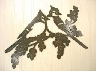 Metal Wall Art Home Decor Bird Blue Jays on Grapevine