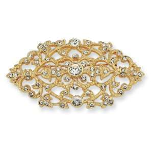 Gold Plated Swarovski Crystal Floral Brooch Pin Jacqueline