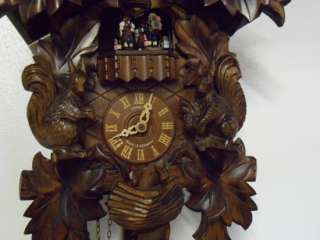 Large 8 Day Musical Hand Carved German Cuckoo Clock