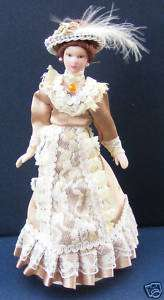 Victorian Lady In A Brown Dress Dolls House Miniature People F