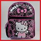 Hello Kitty Black Glitter 14 Backpack   Bag School Girls Kids   MED