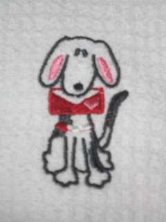 Set/2 Valentine Dog Design Waffle Cotton Kitchen Towels