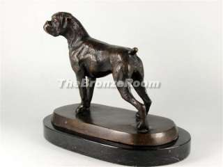 Bronze Boxer Dog Standing on a Marble Base